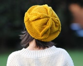 Tom -Hand Knit Hat Womens Hat - Cable Beret Hat in orange - Fall Fashion Autumn Fashion Autumn Accessories Autumn Hat