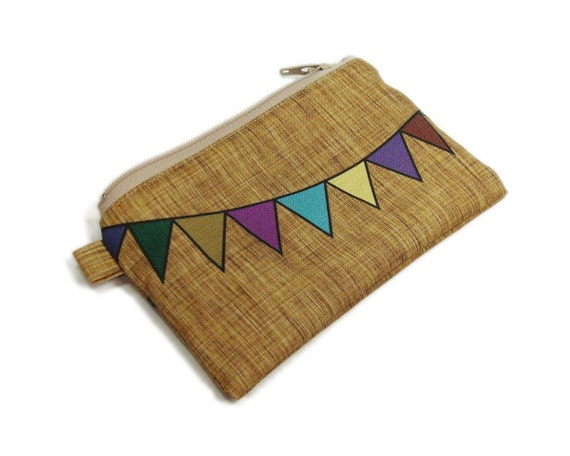 Bunting flags zipper pouch 5 inches multicolor on brown linen texture