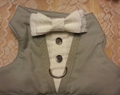 TUXEDO Harness Light Gray with Brocade White Bow Tie - MEDIUM and LARGE Size Listing