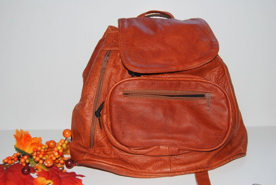 Sale  Vintage brown  leather   Knapsack. Backpack Cinch Bucket Sling Bag Rucksack Back to School Fall Autumn Colors  ships from Colorado USA