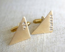 Cufflinks - Mr. Perfect Triangle brass hand stamped cufflinks industrial inspired men's accessories