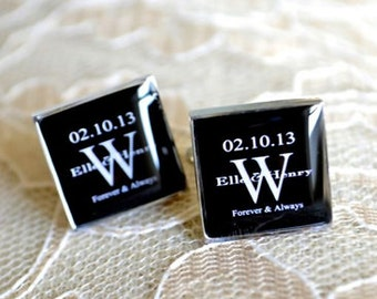 Square Cufflinks - personalized black and white monogrammed initial name and date forever cufflinks - heirloom keepsake gift for him