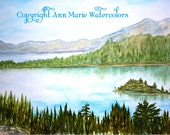 Lake Tahoe - 8 x 10 or larger - watercolor landscape giclee print