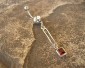 Belly Button Jewelry / Belly Button Ring in Sterling Silver & Red Garnet - Handcrafted Artisan Belly Jewelry