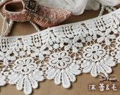 2 Yards Beige Venice Cotton Lace Trim Retro Lace Trim Sewing Costume Apparel Supplies 11cm