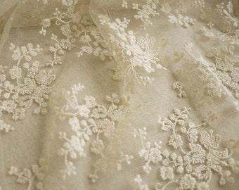 SALE Ivory Lace Fabric Wedding Fabric French Embroidered