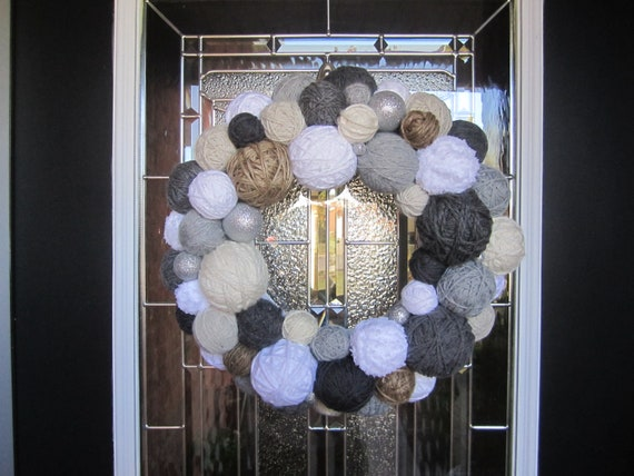Handmade Winter Yarn Ball Wreath. Holiday Wreath.  Yarn Wreath.  Door Hanging.  Door Decor. Home Decor. Wall Hanging. Christmas Wreath.