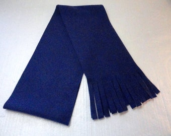 Winter Fleece Scarf in Bright Navy Blue Solid