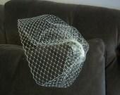 "Birdcage Veil - 12"" Blusher/ Bubble Veil White, Ivory"