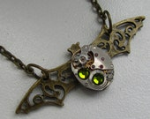 Steampunk Gothic Bat necklace - with the smallest  vintage watch movement and real Swarovski crystals. Gift under 30 Dollars