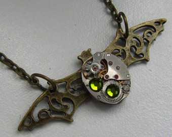 Steampunk Gothic Bat necklace vintage watch movement Swarovski crystals Gothic Costume Jewelry Gift for Her Birthday gift ideas Brass Bat