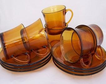 Duralex Six Amber Expresso/ Demitasse Cup & Saucers, 1970s, France, Uk Seller