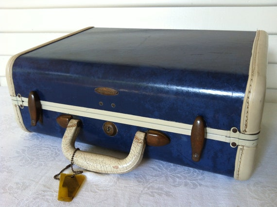 1940s Admiral Blue Marble Samsonite Overnight- Ladies Vanity O'Nite