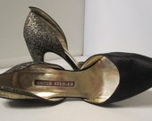 Vintage Black Satin and Glitter Pumps from Walter Steiger 8B