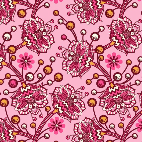 Tula Pink for Free Spirit, The Birds & The Bees, Bees Knees in sunset,1 yard