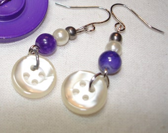 DANGLE Button Earrings - WHITE Pearl - Purple - Silver - Bead and button earrings