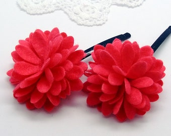 Felt flower bobby pin (set of 2 pcs)