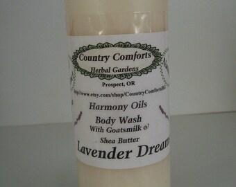 Lavender Dreams Natural Body Wash - Thick, Rich Formula - Shea Butter, Goatsmilk & Silk Fibers - liquid soap, gentle soap - 4 oz bottle