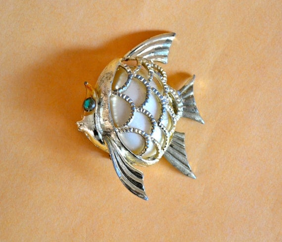 Art Deco Fish Brooch, Gold Tone, Faux Pearl, Animal Brooch, Clearance Sale