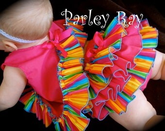 A Beautiful Parley Ray Rainbow Birthday Pinafore Dress with Ruffled Baby Bloomers Diaper Cover / Photo Props