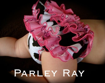 A Beautiful Parley Ray Pink Cowgirl Western Ruffled Diaper Cover/ Baby Bloomers/ Photo Prop