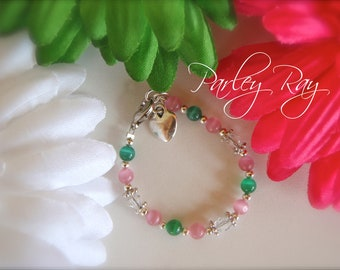 Beautiful Parley Ray Pink and Green Baby Girls Bracelet Cat Eye beads, Swarovski Crystal and Heart Charm