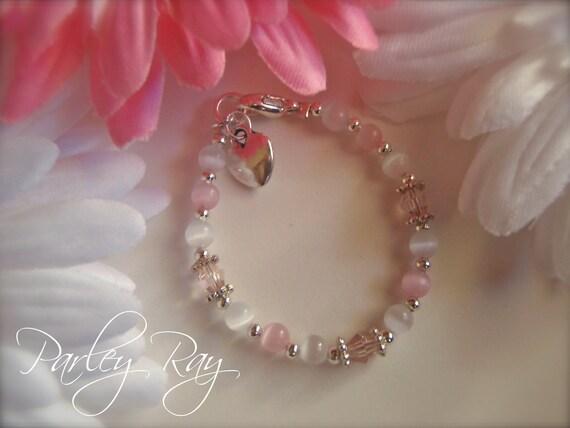 Beautiful Parley Ray Baby Bracelet Pink and White Cat Eye, Tibetan spacers, Swarovski Crystal, Heart Charm