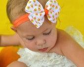 Candy Corn Bow Headband - Halloween Fall Bow on an Elastic Headband - Girls Hair Bows - carolinagirlsx3