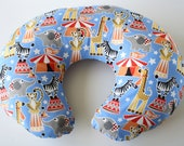 SALE--Nursing pillow cover, blue circus animal print--ready to ship