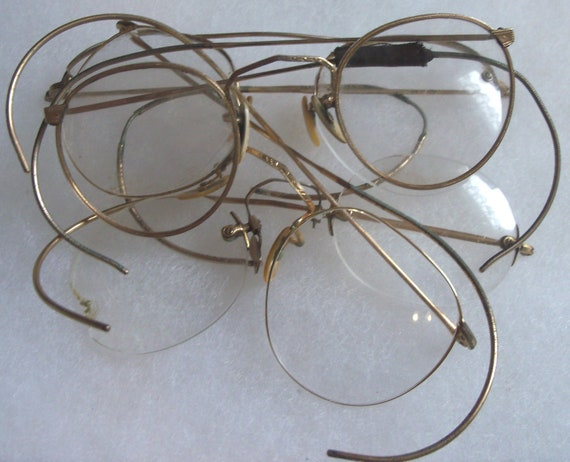 Wire Frame Glasses Vintage : Vintage Round Lens Gold Wire Frame Eyeglasses by ...