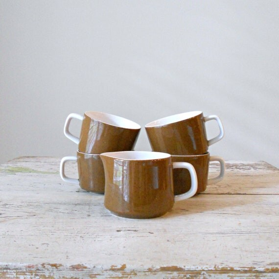 Vintage Mikasa Mediterrania - Mug and Creamer Set, Espresso