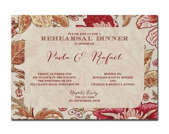 Rehearsal Dinner Invitation Classic Vintage Floral Paisley Wedding Formal Elegant Brick Red Taupe Printable Digital or Printed - Paola Style
