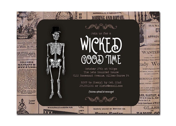 Vintage halloween invitation adult party invitation retro for Vintage halloween party invitations