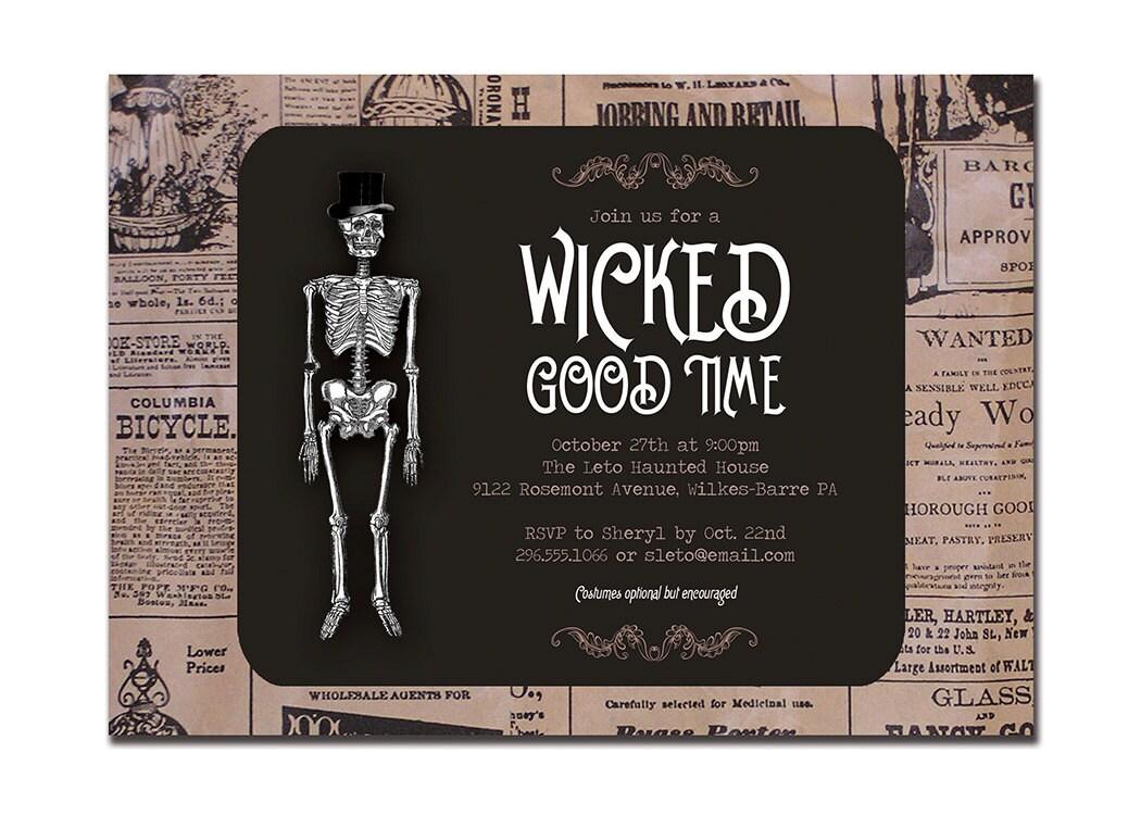 Vintage Halloween Invitation Adult Party Invitation Retro
