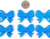 6 Chunky Beads, BIG BLUE bow beads, acrylic bubblegum beads, 36mm long, 46mm wide, 9mm thick