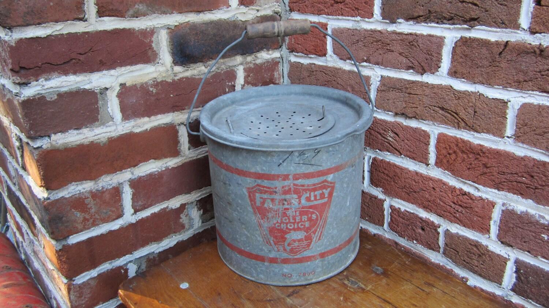 Vintage Old Time Minnow Bucket Fishing Galvanized Metal Bucket