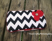 Black and White Chevron Stripes Red Rosettes--Boutique Travel Baby Wipes Case