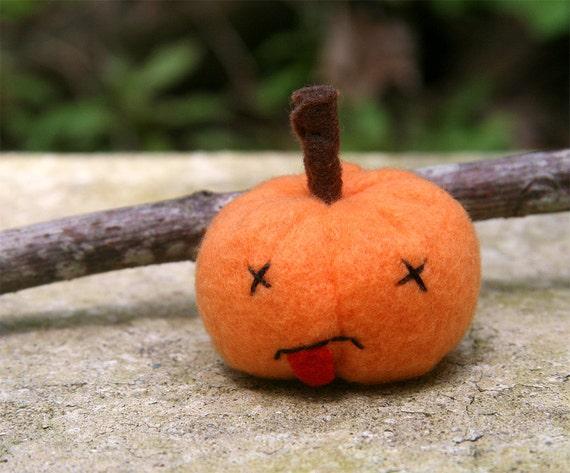 Dead Pumpkin 2, stuffed jack-o-lantern, Halloween pumpkin plush orange fleece Muser OOAK