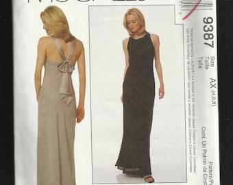 McCalls 9387 Designer Laundry by Shelli Segal Evening Dress Beautiful Back Straps Size 4 6 8