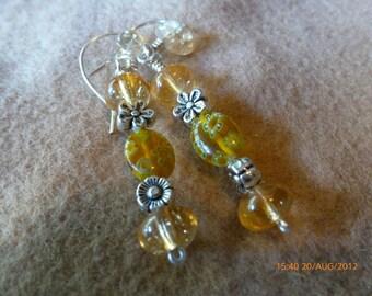 Citrine & Milliflore Lampwork Gemstone Earrings hypoallergenic