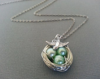 Sea Green Freshwater Pearl Bird's Nest Necklace