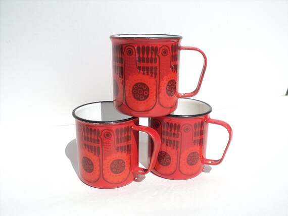 RESERVED Reserved Vintage Red Enamelware  Mugs, 1970's, Rare Finnish Artist Enamel Design Coffee Cups, Finel, Arabia Pottery, Kaj Franck