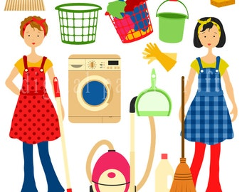 Housework Clipart, Cleaning Clipart, Home Clipart, Maid Clipart, Instant Download