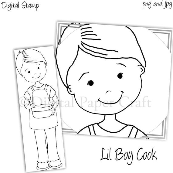 Cooking Stamp, Boy Cook Stamp, Instant download, Digital Stamp