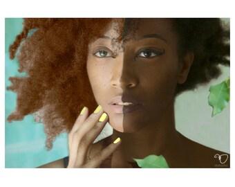 16x20 C- PRINT w/ Matte - Split Face Black Woman of Light & Dark Melanin (Cyber Monday Sale)