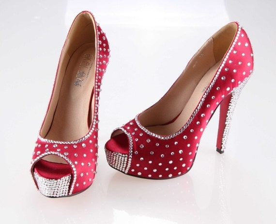Shinning crystal shoes for Wedding or party Rainbow color rhinestones, other colors available too