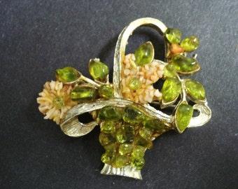 Lovely VINTAGE BROOCH  - Semiprecious Stone Brooch - Pin - Jeweled Basket - Jade Coral