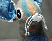 Blue and Orange Rabbit Plush - felted wool