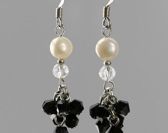 Pearl black and white chandelier dangling earrings Bridesmaid gifts Free US Shipping handmade Anni designs