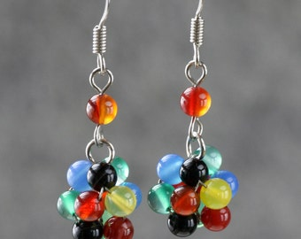Colorful stone ball drop earrings Bridesmaids gifts Free US Shipping handmade Anni Designs